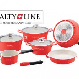 Pannenset Royalty Line Rood Creme